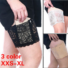 Thigh Bands Slip Silicone Leg Warmer Phone Pocket Card Cell Three Rows Plus size Women Sexy Lady Anti Chafing Floral Lace Drop(China)