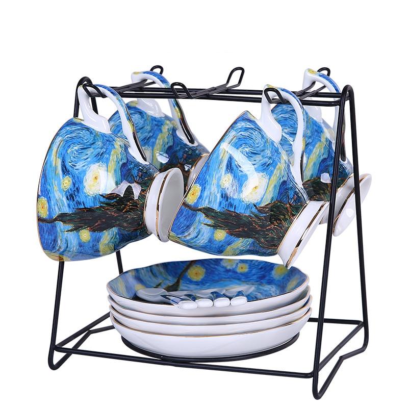 Top Grade Bone China Coffee Tea Set Vincent Willem Van Gogh Post Impressionism Famous Painting The Starry Night Art Cup Dish Set