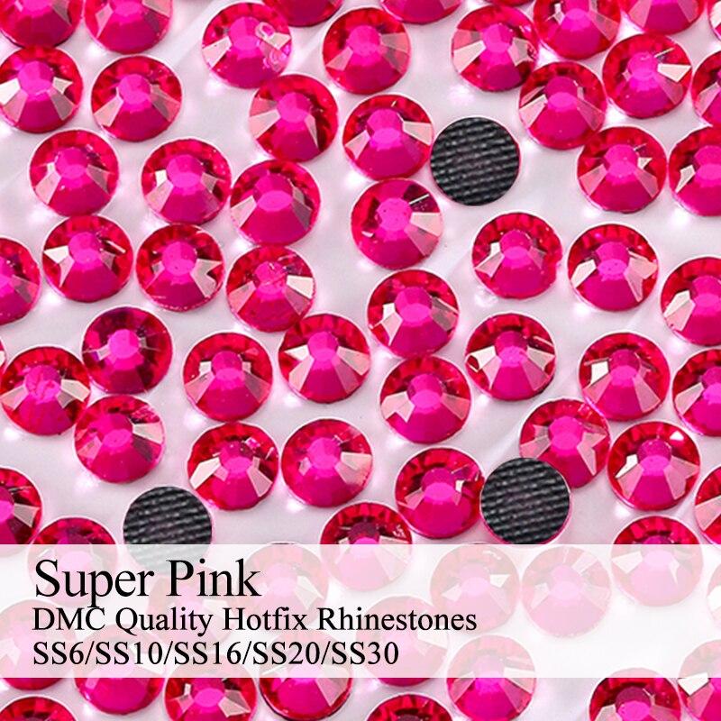 Polaris SS6-SS30 Machine Cut Super Pink Strass DMC Hotfix Rhinestones For Garment Accessories