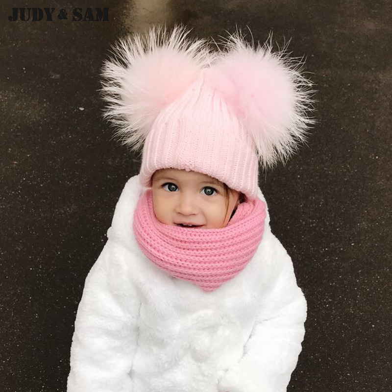 Winter Children Wool Blend Hat for Kids with Real Raccoon Fur Pom Poms Beanies Unisex Apparel Accessories For Boys Girls the new children s cubs hat qiu dong with cartoon animals knitting wool cap and pile