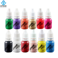 OPHIR 12 Colors 10ML/Bottle Acrylic Water Ink Pigment Airbrush Nail Ink for Nail Art Stencil Painting Nail Polish _TA098
