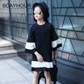 Pattchword gasa blanca dobladillo flare manga del o-cuello del color sólido vestidos de niña 2017 primavera nueva lista knne-longitud ocasional de la muchacha vestidos
