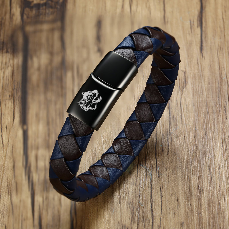 Free Engraving Customized Braided Genuine Leather Bracelets for Men Bangle Rope Chain Magnetic Clasp Brown Color Armbanden Gifts