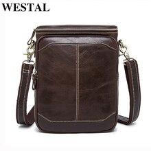 WESTAL genuine leather men's shoulder bag for men leather handbag messenger falp