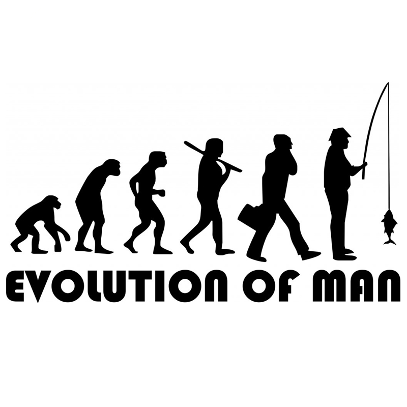 CS-279#11*20cm The Evolution Of Man Fisherman. Fishing Funny Car Sticker And Decal Silver/black Vinyl Auto Car Stickers