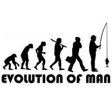 CS-279#11*20cm The evolution of man Fisherman. Fishing funny car sticker and decal silver/black vinyl auto stickers