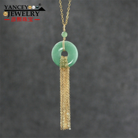 Original design, natural light green jade Ping buckle necklace pendants, with 60CM length 9K gold tassel fine necklace pendants