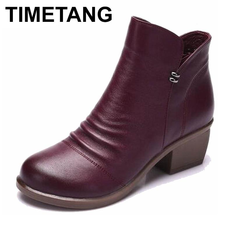 TIMETANG   Women Ankle Boots Heels Zip Casual Shoes Woman Black Gray Boots 100% Genuine Leather Plus Size 40TIMETANG   Women Ankle Boots Heels Zip Casual Shoes Woman Black Gray Boots 100% Genuine Leather Plus Size 40