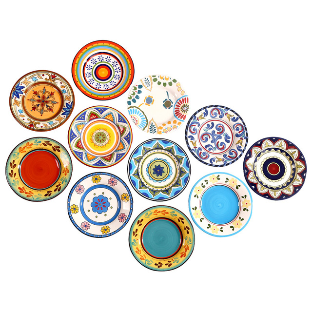 Hot Exotic Hand-painted Moroccan Italy Bohemian Style Dinner Plate 8.5 Inch Colorful Salad Plates  sc 1 st  AliExpress.com & Hot Exotic Hand painted Moroccan Italy Bohemian Style Dinner Plate ...