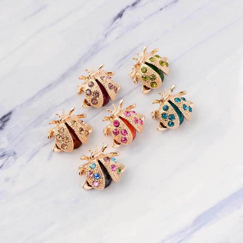 Colorful Rhinestone Ladybug Bros Pin Kartun Kumbang Kecil Kerah Pin Pakaian Mantel Kemeja Tas Serangga Perhiasan Hadiah untuk Anak Wanita