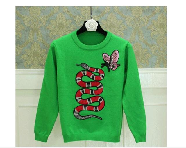 The high-end brand women green snake jacquard embroidery pattern butterfly sweater fashion girls design