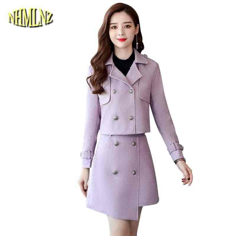 אופנה בינוני נשים צמר מעיל שתי חתיכות שמלת 2019 סתיו חורף חדש נקבות מעיל Slim אלגנטי סטי שמלת הלבשה עליונה LY362