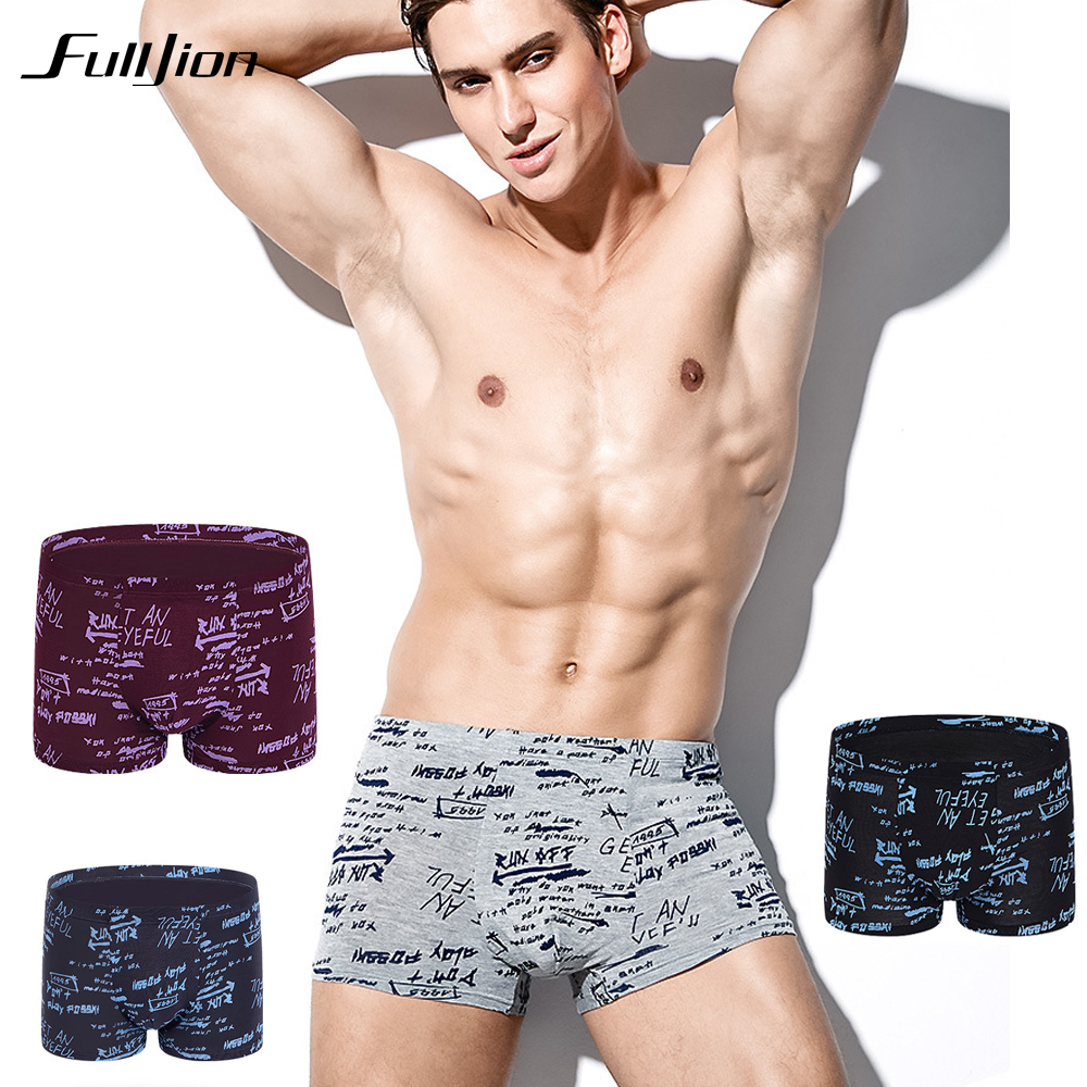 Fulljion Men Boxers Shorts Underwear Modal Comfortable Male Sexy Fashion Printing Anti-Bacterial