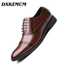 DXKZMCM Handmade Men Dress Microfiber Leather Formal Business Men Oxfords Shoes Men's Flats for Party Wedding