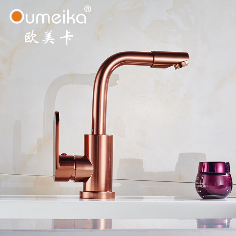 ITAS9913 space aluminum rose gold kitchen faucet vegetable bathroom basin sink water taps cold hot brass mixer dual luxury