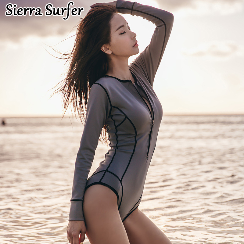 Cheap Sexy Bathing Suits Swim Suit One Piece Womens Swim Suit Wear One-Piece Swimsuit 2018 Korean New Swimsuit Grey Long Sleeve cheap sexy bathing suits swim suit one piece plus size swimwear womens wear 2017 new korean lovely woman lace triangle badpak