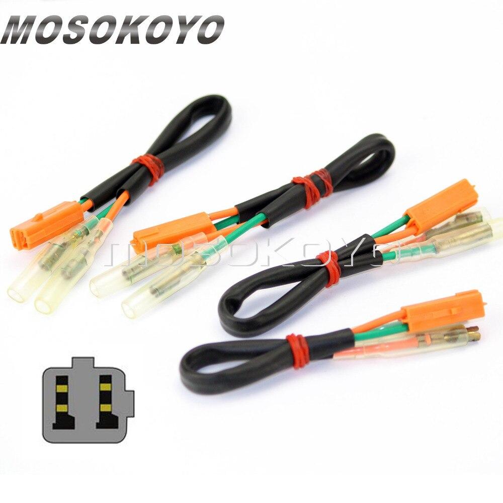 4pcs Turn Signals Wire Plug Adapters Indicator Cable Lead Connectors For Honda CBR250R CBR600F4 CBR900RR CBR954RR VT750 99-13
