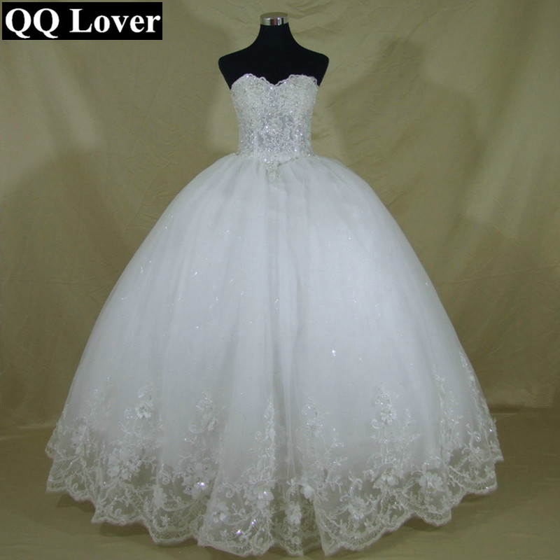 Image 2 - QQ Lover 2019 New Pearls Beaded Ball Gown Wedding Dress Luxury Bridal Gown Vestido De Noiva-in Wedding Dresses from Weddings & Events