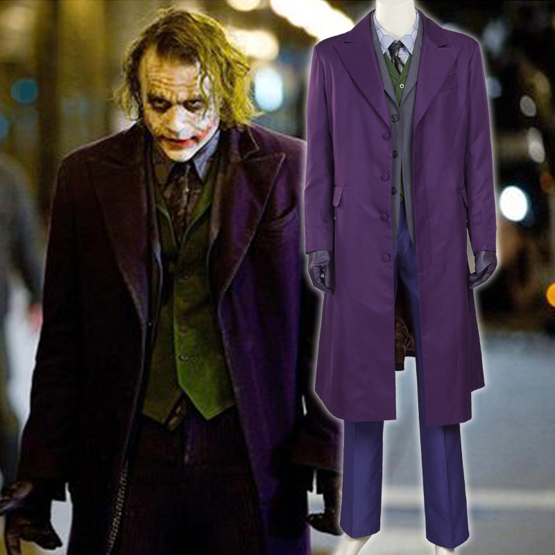 Batman The Dark Knight Joker Cosplay Costume Outfits Halloween Costumes Custom Made Trench Suits Vest Shirt Tie Pants Full Set