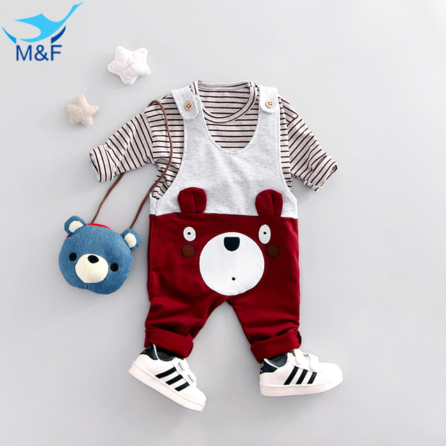 M&F Baby Boy Clothes Set Spring Kids Clothing Set High Quality 2pcs T-shirt+Overalls Suit Cotton Cartoon Set For Children Girls