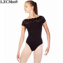 LZCMsoft Delle Ragazze Del Merletto Body Nero Per La Ginnastica Bambino Spandex di Nylon Maniche Corte Body Balletto Dancewear Prestazioni del Team di