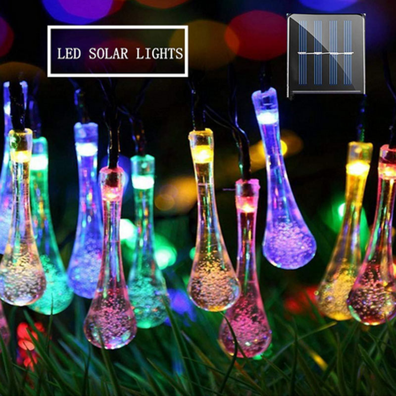 Solar 12m 100leds Light String Outdoor Waterproof Water Drop Fairy Lights Decoration For Christmas Garden Party Lighting