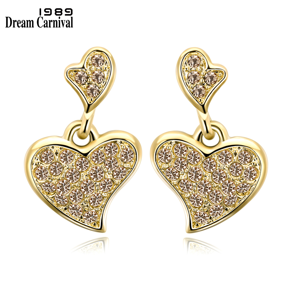 DreamCarnival 1989 Big Discount Cute Pretty Princess Gold Hearts Best Gift Crystal Jewelry Super Sales Lovely Earrings 18E1039
