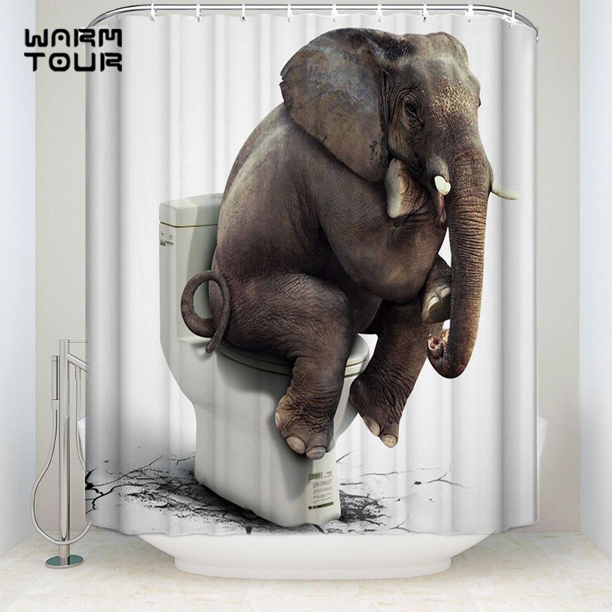 Aliexpress Com Buy Bath Shower Curtains Elephant Sits On