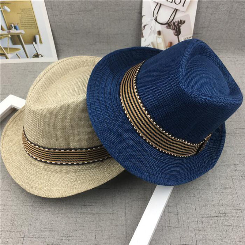 2019 New Straw Cap Baby Hats Children Jazz Cap Bucket Hat Sun Cap Summer Hat For Girls Boys Panama Hat Photography Props 50-54