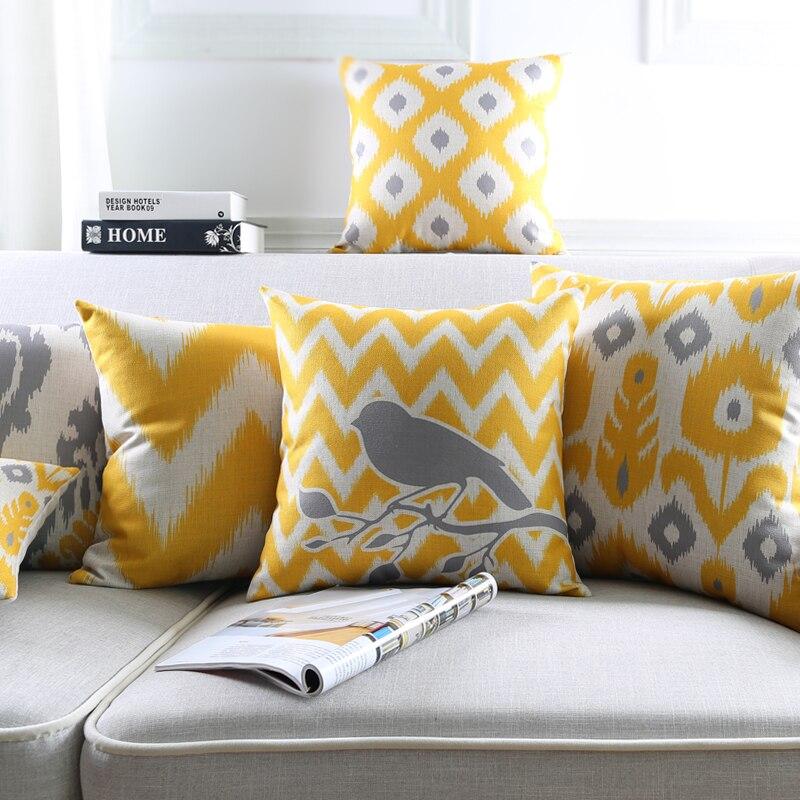 en gros taie d oreiller jaune fonce gris triangle geometrique abstrait coussin decoratif a la maison taie d oreiller 45x45 cm 30x50 cm dans housse de