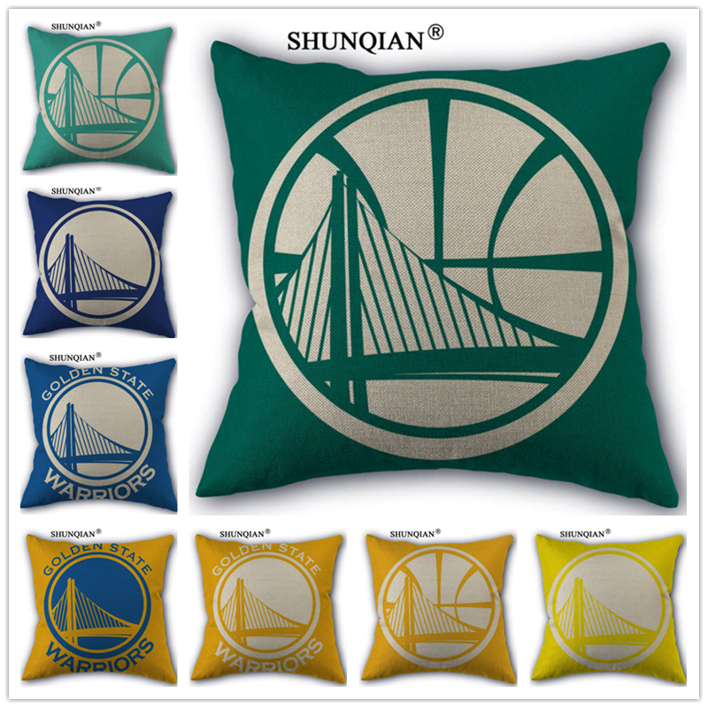 WJY418 Golden State Warriors Custom 18'' Square Linen Pillow Case For Home Customized Drop Shipping