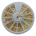 W50 1 Unidades Oro mezclar estilos del clavo 3D de joyas de uñas de metal decoraciones accesorios de la pajarita de uñas clavos de las ruedas embalaje