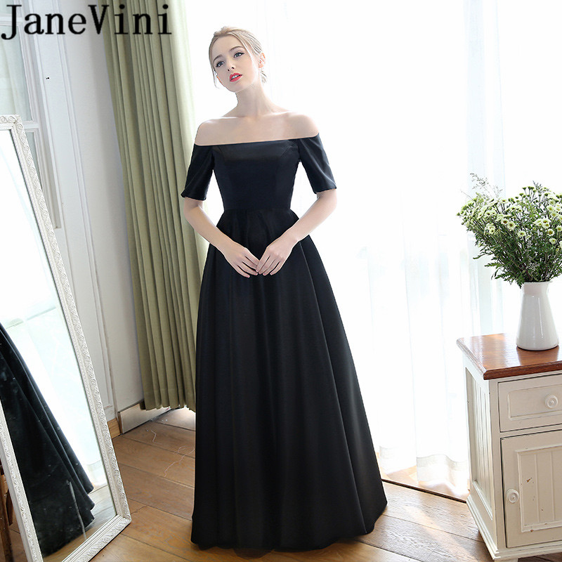 US $108.01 45% OFF|JaneVini Simple Black Plus Size Mother Of The Bride  Dresses With Half Sleeves Boat Neck Long Evening Dinner Gown Vestito  Sposa-in ...