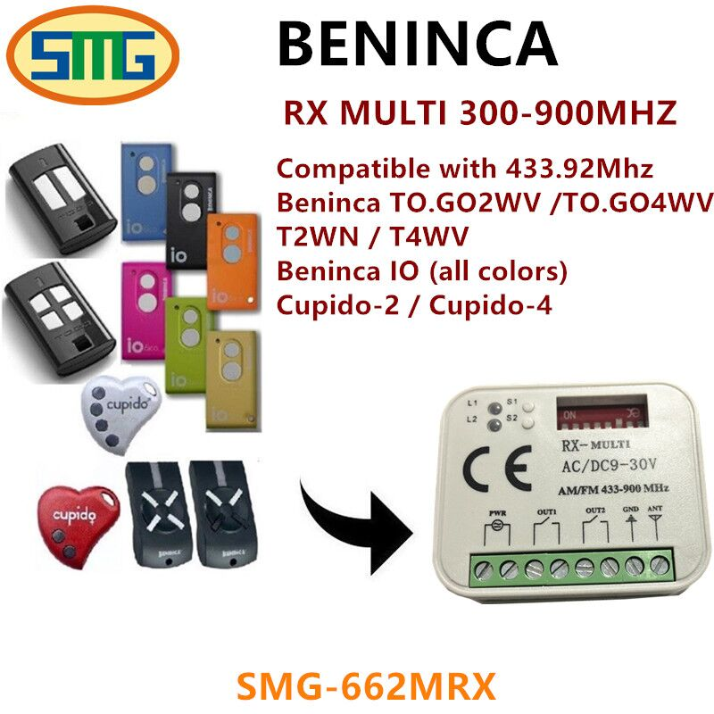 2X Hot sale RX MULTI 300-900MHZ Beninca TO GO 2WV 433.92MHZ Rolling code Remote control receiver swtich free shipping