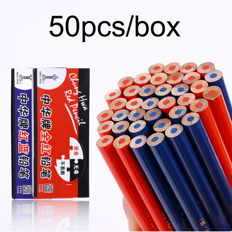 Creative Wooden HB Pencil 50pcs/box Full Red Dual Color Blue Red for Choose Marker Special Pencils School Office Supplies