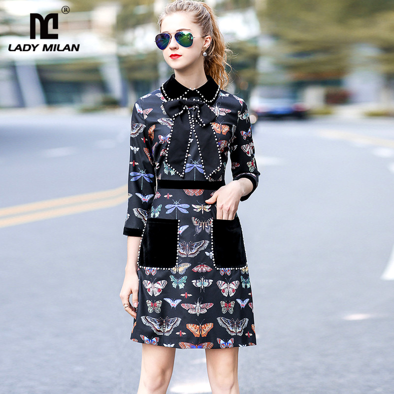 New Arrival 2018 Spring Womens Peter Pan Collar 3/4 Sleeves Beaded Butterflies Printed Designer Dresses Fashion Caual Dresses