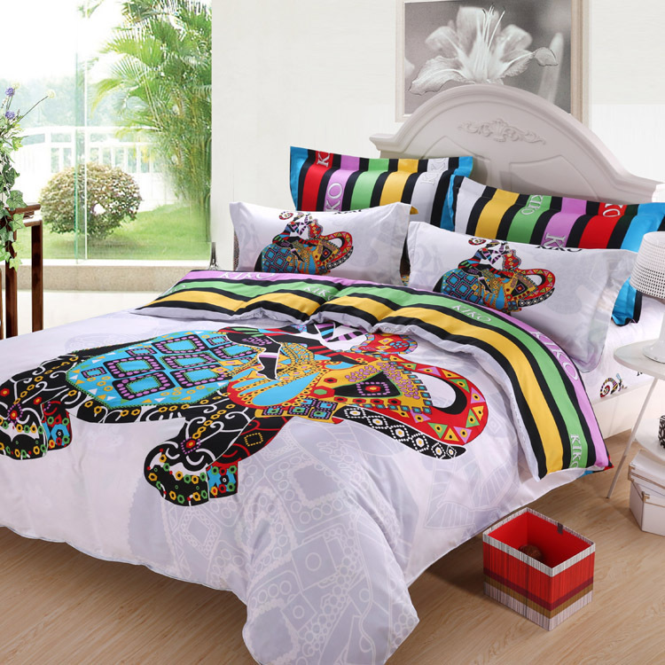 3d Colorful Elephant Striped Kids Cartoon Bedding Comforter Sets