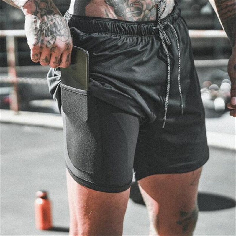 New Men's 2 In 1 Running Shorts Security Pockets Leisure Shorts Quick Drying Sport Shorts Built-in Pockets Hips Zipper Pockets