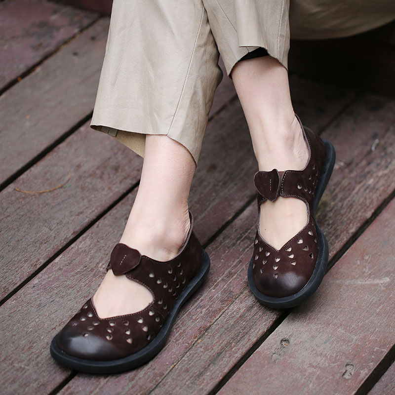 2019 VALLU Leather Shoes Women Flats Round Toes Natural Suede Hollow Out Handmade Casual Shoes Woman