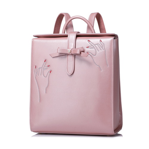 Women PU Leather Backpack Bow Female Elegant Daily Box Shoulder Bags Ladies Daypack Girls Schoolbag Embroidery Travel Rucksack gipfel сотейник cantata 24 см 2 7 л