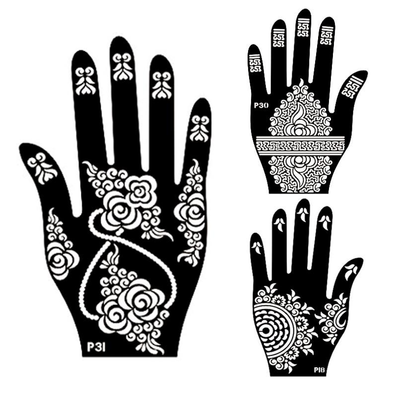 10Pair Mehndi Henna Left Right Hand Tattoo Stencil,Indian Glitter - tattoo template