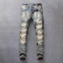 Vintage Design Fashion Men Jeans Slim Fit Cotton Denim Buttons Pants High Quality Retro Classical Jeans Men Ripped Jeans homme 2016 fashion men jeans new arrival design slim fit fashion jeans for men good quality 100