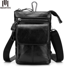 MISFITS Genuine Leather Men Messenger Bag Hot Sale Male Small Casual Crossbody Shoulder Bags Travel New Waist Packs Man Handbags