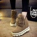 Moda Mujer Botas Aumento de la Altura de Gamuza Impermeable Zapatos de Piel botas Cortas Nieve Muffin Bottom Para Mujer Botines Felpa Interior Caliente