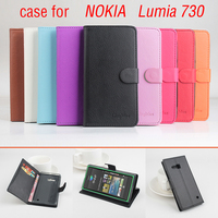 Litchi For Nokia Lumia 730 Case With Wallet Good Quality New Leather Case Hard Back Cover