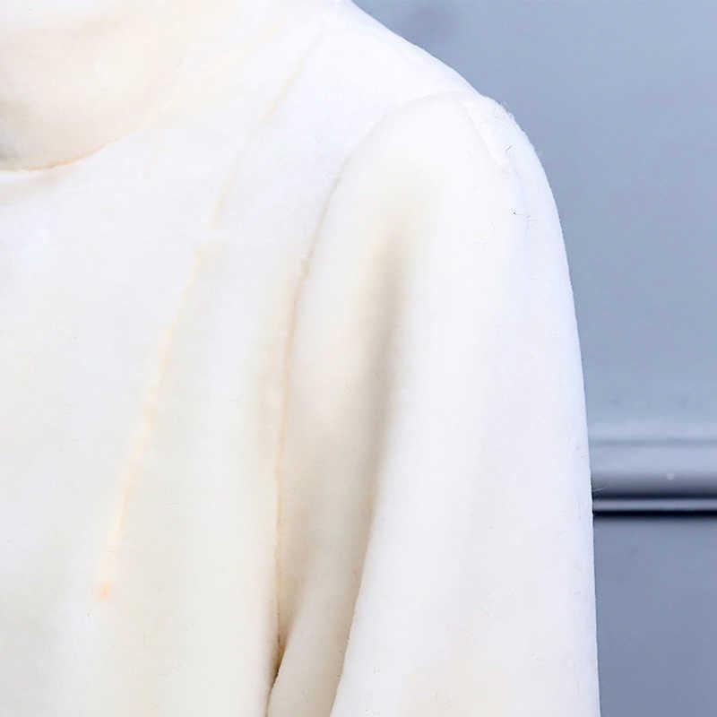 Nerazzurri/зимнее пальто из натурального меха, женское Длинное Элегантное теплое пальто большого размера из шерсти, пальто из овечьей шерсти, 5XL 6XL 7XL, белое пальто из натурального меха ягненка