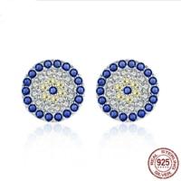 New Original 100 Sterling Silver Blue Eyes Swarovski Crystal Stud Earrings For Women Evil Eye Silver