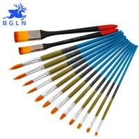 Bgln 14Pcs Set Nylon Hair Professional Acrylic Paint Brush Pointed Round Brush Acrylic Painting Brush Art
