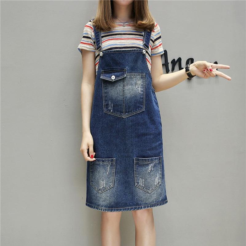 b686626cb7 Voobuyla Plus Size 2018 New Spring Summer Women Dress Fertilizer Added Fat  Long Denim Straps Dresses Casual Loose Dress XL 5XL-in Dresses from Women's  ...