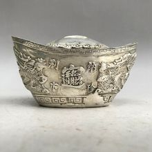 A rare Tibet silver ingots carved sculpture in ancient China